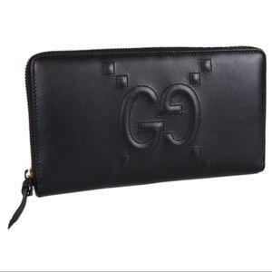 ❤️GUCCI❤️wallet GG embossed logo w/ zipper black